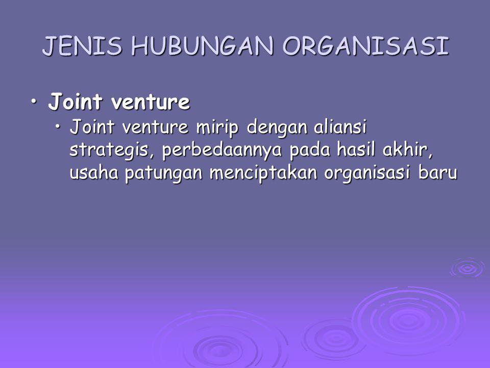 JENIS HUBUNGAN ORGANISASI Joint ventureJoint venture Joint venture mirip dengan aliansi strategis, perbedaannya pada hasil akhir, usaha patungan menci