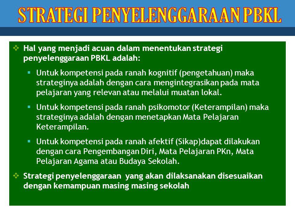 Hal yang menjadi acuan dalam menentukan strategi penyelenggaraan PBKL adalah:  Untuk kompetensi pada ranah kognitif (pengetahuan) maka strateginya