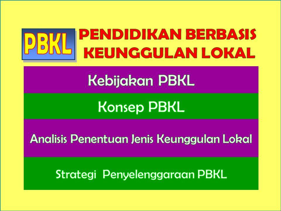  Peraturan Pemerintah nomor 19 tahun 2005 BAB III pasal 14 ayat 1 Untuk SMA/MA/SMALB atau bentuk lain yang sederajat dapat memasukkan pendidikan berbasis keunggulan lokal.