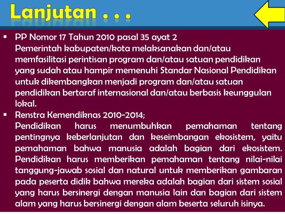  PP Nomor 17 Tahun 2010 pasal 35 ayat 2 Pemerintah kabupaten/kota melaksanakan dan/atau memfasilitasi perintisan program dan/atau satuan pendidikan y