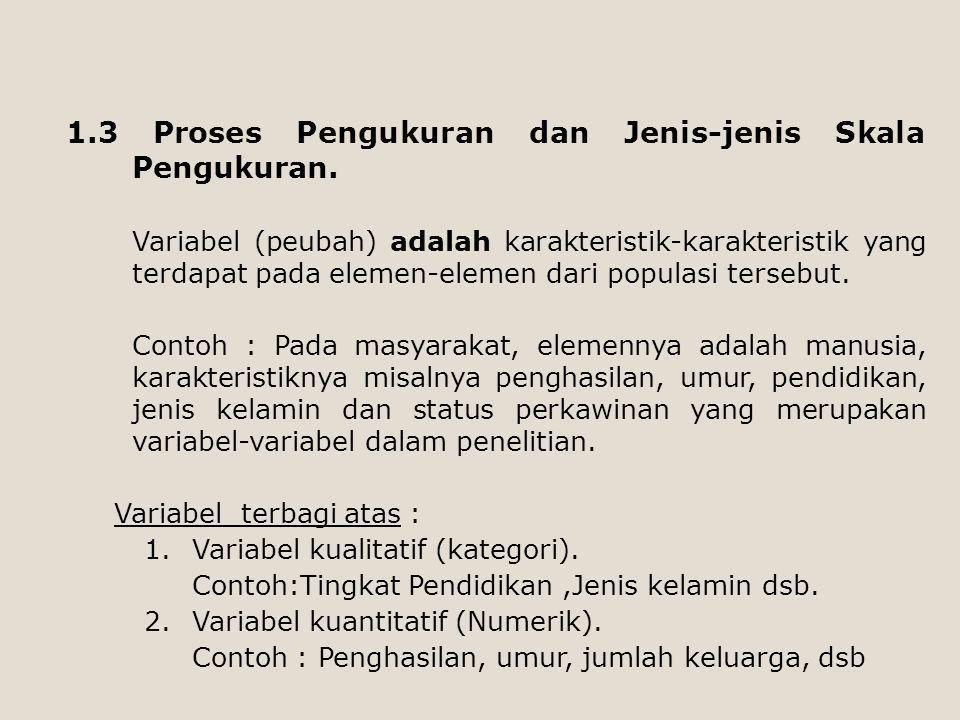 1.3 Proses Pengukuran dan Jenis-jenis Skala Pengukuran. Variabel (peubah) adalah karakteristik-karakteristik yang terdapat pada elemen-elemen dari pop