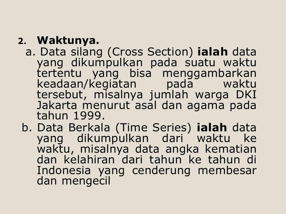 2. Waktunya. a. Data silang (Cross Section) ialah data yang dikumpulkan pada suatu waktu tertentu yang bisa menggambarkan keadaan/kegiatan pada waktu