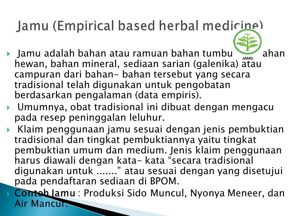  Jamu adalah bahan atau ramuan bahan tumbuhan, bahan hewan, bahan mineral, sediaan sarian (galenika) atau campuran dari bahan- bahan tersebut yang se