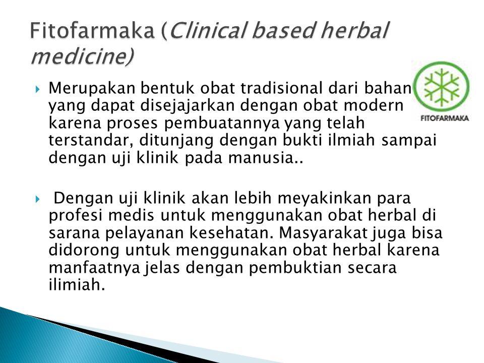  Merupakan bentuk obat tradisional dari bahan alam yang dapat disejajarkan dengan obat modern karena proses pembuatannya yang telah terstandar, ditun