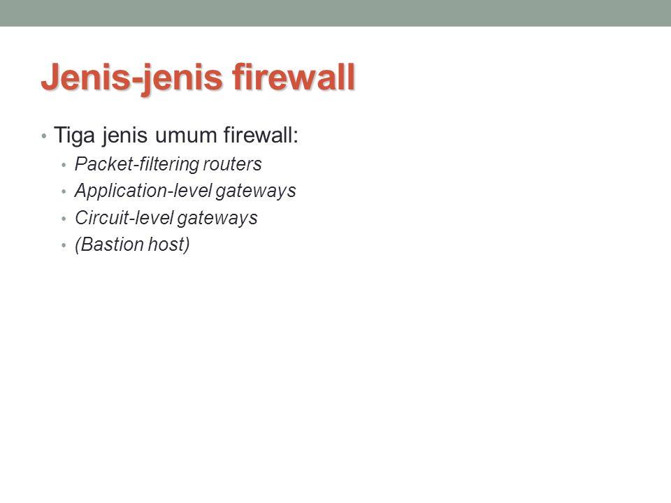 Jenis-jenis firewall Tiga jenis umum firewall: Packet-filtering routers Application-level gateways Circuit-level gateways (Bastion host)