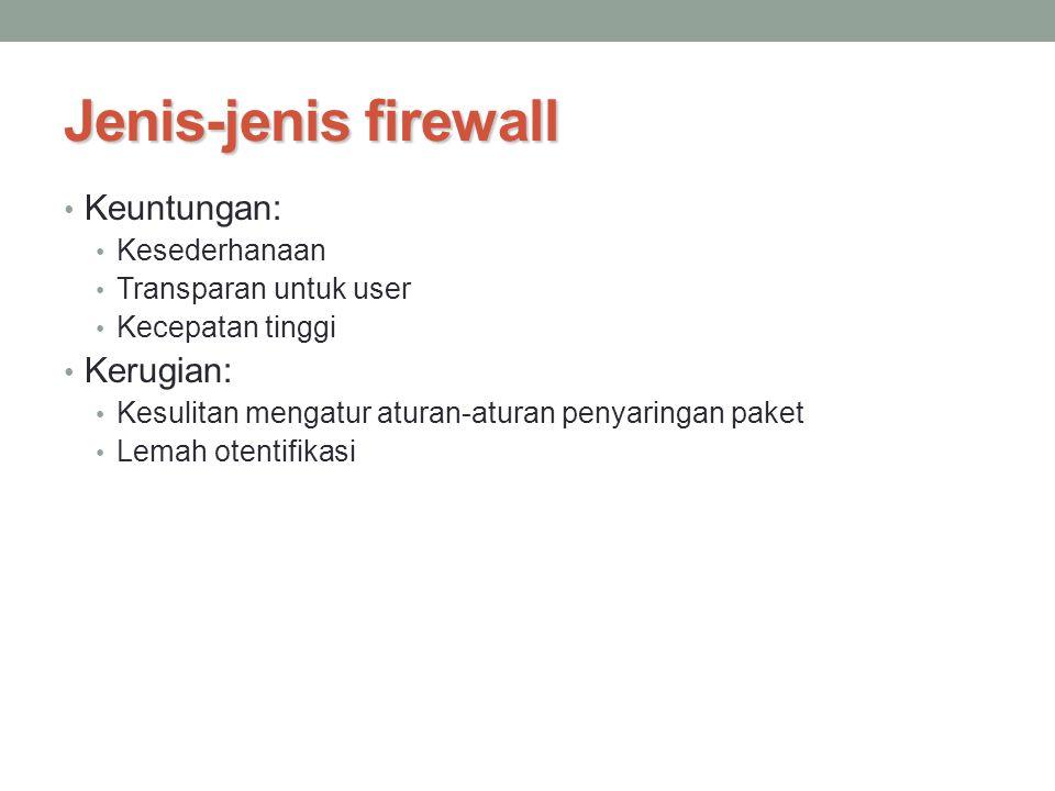 Jenis-jenis firewall Keuntungan: Kesederhanaan Transparan untuk user Kecepatan tinggi Kerugian: Kesulitan mengatur aturan-aturan penyaringan paket Lem