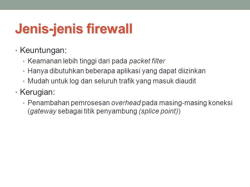 Jenis-jenis firewall Keuntungan: Keamanan lebih tinggi dari pada packet filter Hanya dibutuhkan beberapa aplikasi yang dapat diizinkan Mudah untuk log