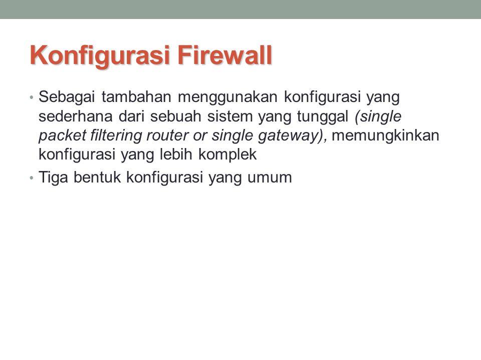 Konfigurasi Firewall Sebagai tambahan menggunakan konfigurasi yang sederhana dari sebuah sistem yang tunggal (single packet filtering router or single
