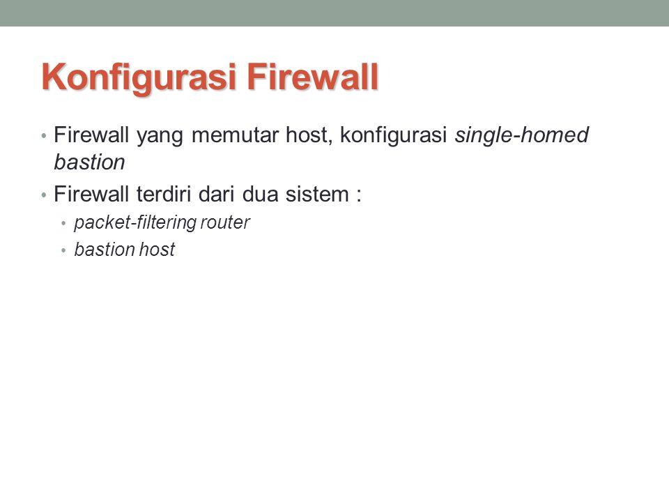 Konfigurasi Firewall Firewall yang memutar host, konfigurasi single-homed bastion Firewall terdiri dari dua sistem : packet-filtering router bastion h