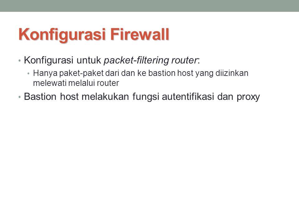 Konfigurasi Firewall Konfigurasi untuk packet-filtering router: Hanya paket-paket dari dan ke bastion host yang diizinkan melewati melalui router Bast