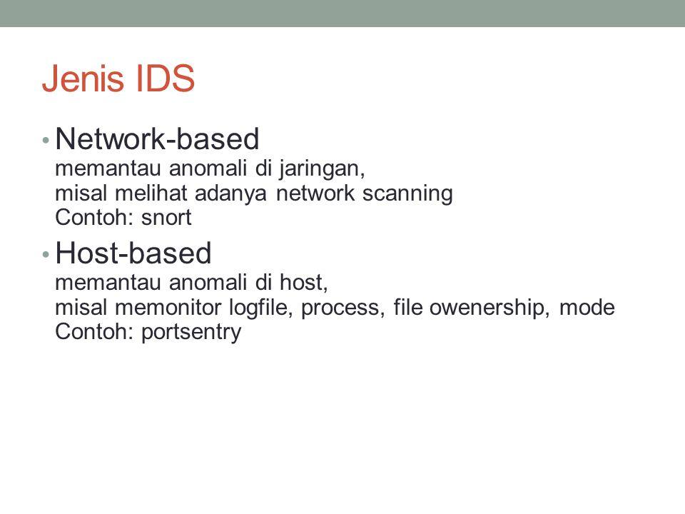 Jenis IDS Network-based memantau anomali di jaringan, misal melihat adanya network scanning Contoh: snort Host-based memantau anomali di host, misal m
