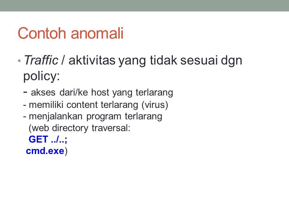 Contoh anomali Traffic / aktivitas yang tidak sesuai dgn policy: - akses dari/ke host yang terlarang - memiliki content terlarang (virus) - menjalanka