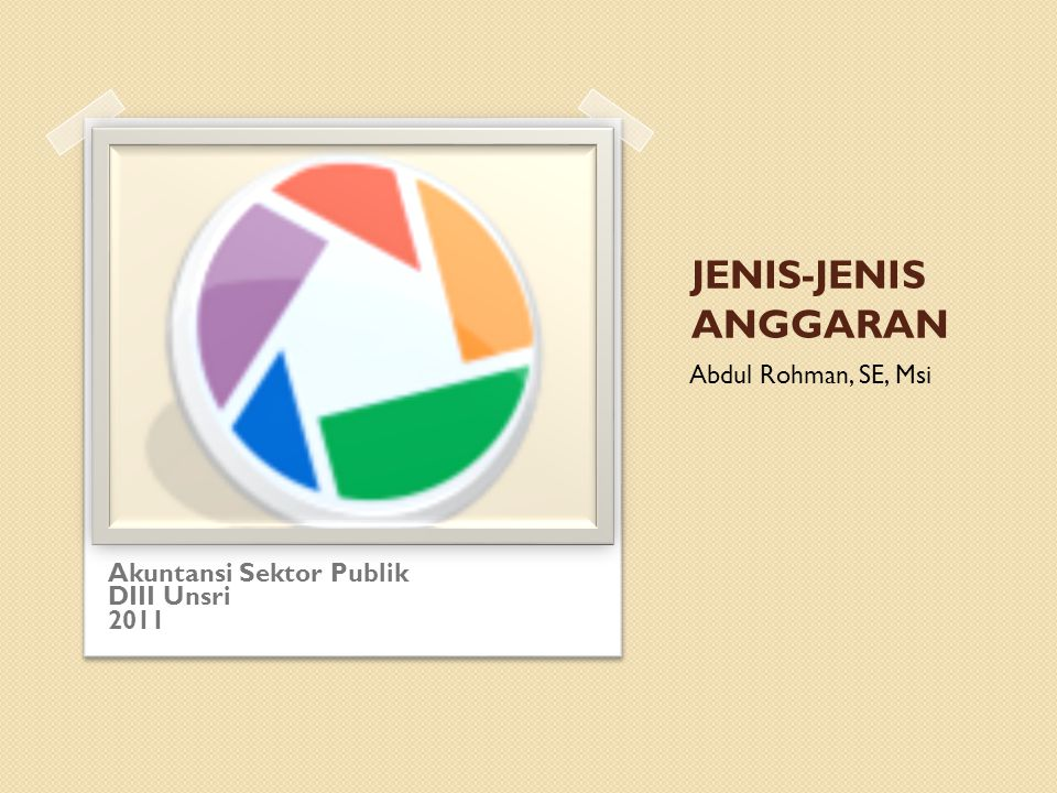 JENIS-JENIS ANGGARAN Akuntansi Sektor Publik DIII Unsri 2011 Abdul Rohman, SE, Msi