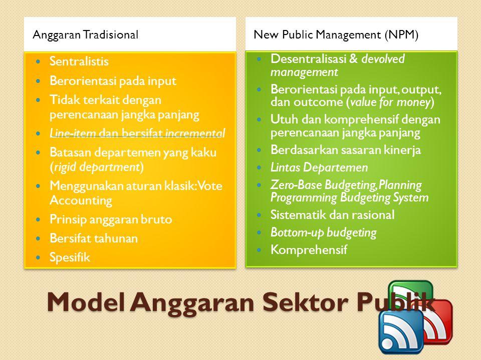 Model Anggaran Sektor Publik Anggaran TradisionalNew Public Management (NPM) Sentralistis Berorientasi pada input Tidak terkait dengan perencanaan jan