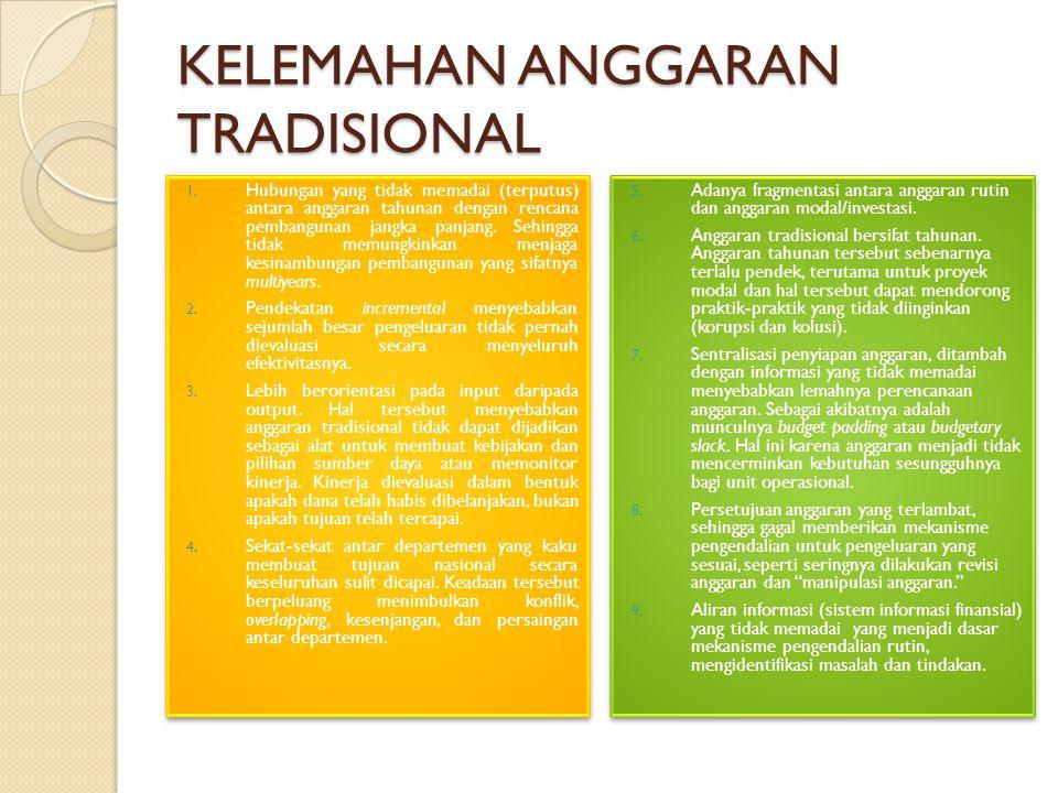 KELEMAHAN ANGGARAN TRADISIONAL 1.