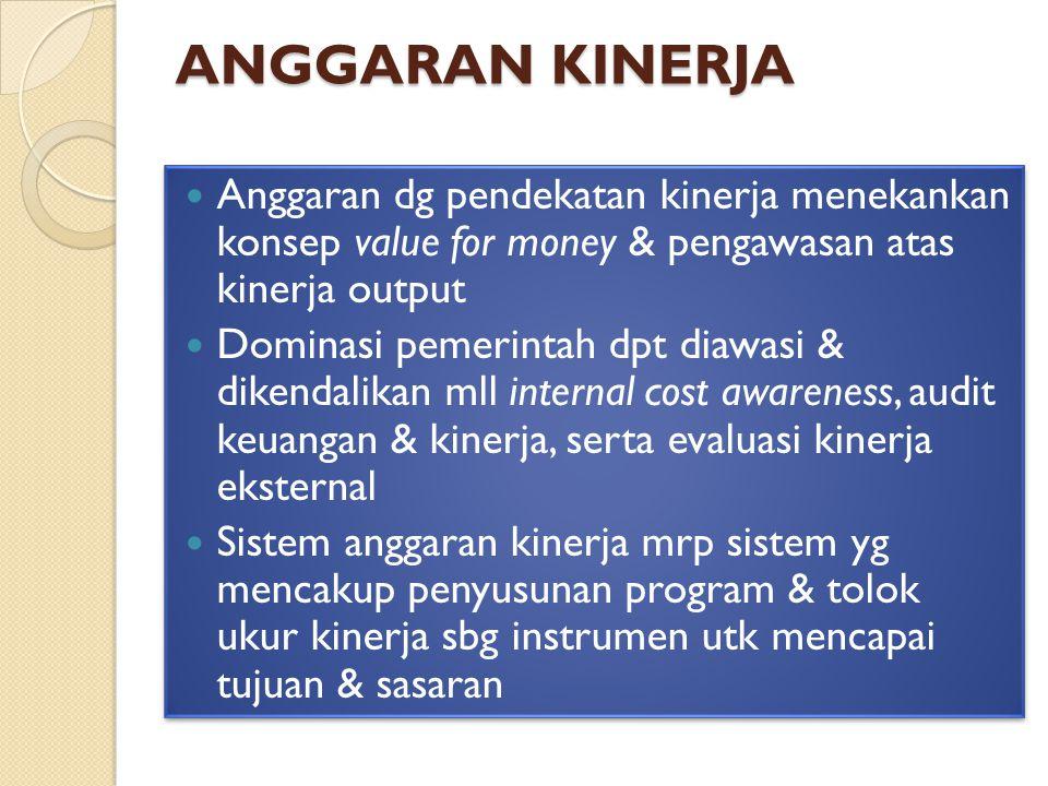 ANGGARAN KINERJA Anggaran dg pendekatan kinerja menekankan konsep value for money & pengawasan atas kinerja output Dominasi pemerintah dpt diawasi & dikendalikan mll internal cost awareness, audit keuangan & kinerja, serta evaluasi kinerja eksternal Sistem anggaran kinerja mrp sistem yg mencakup penyusunan program & tolok ukur kinerja sbg instrumen utk mencapai tujuan & sasaran Anggaran dg pendekatan kinerja menekankan konsep value for money & pengawasan atas kinerja output Dominasi pemerintah dpt diawasi & dikendalikan mll internal cost awareness, audit keuangan & kinerja, serta evaluasi kinerja eksternal Sistem anggaran kinerja mrp sistem yg mencakup penyusunan program & tolok ukur kinerja sbg instrumen utk mencapai tujuan & sasaran