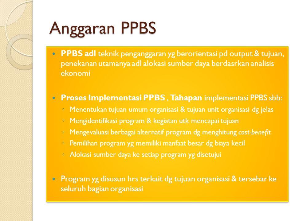 Anggaran PPBS PPBS adl teknik penganggaran yg berorientasi pd output & tujuan, penekanan utamanya adl alokasi sumber daya berdasrkan analisis ekonomi