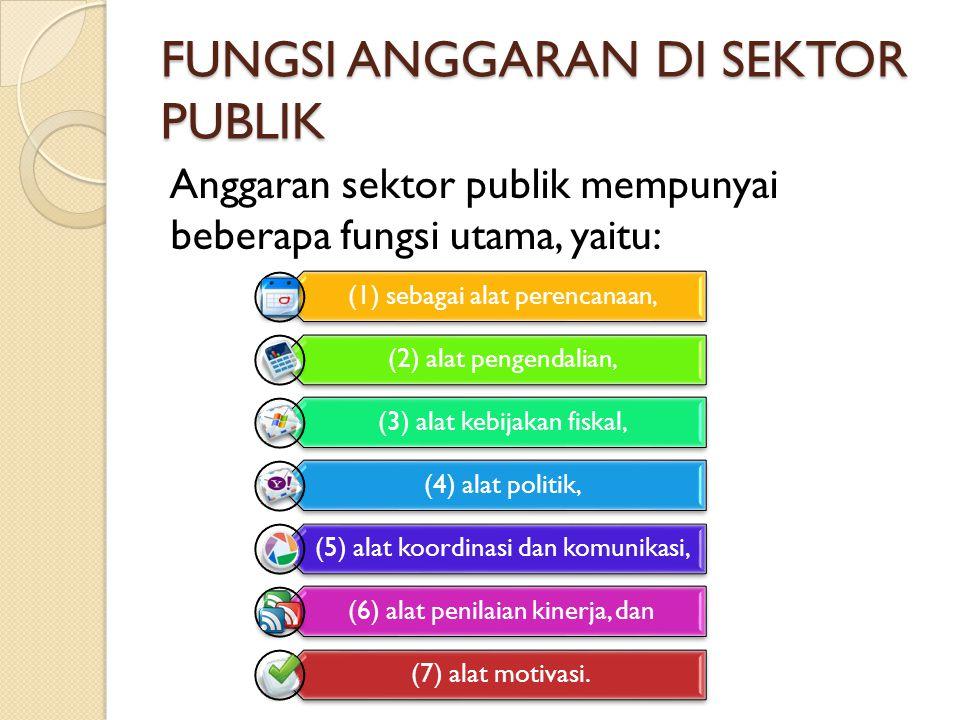 FUNGSI ANGGARAN DI SEKTOR PUBLIK Anggaran sektor publik mempunyai beberapa fungsi utama, yaitu: (1) sebagai alat perencanaan, (2) alat pengendalian, (3) alat kebijakan fiskal, (4) alat politik, (5) alat koordinasi dan komunikasi, (6) alat penilaian kinerja, dan (7) alat motivasi.