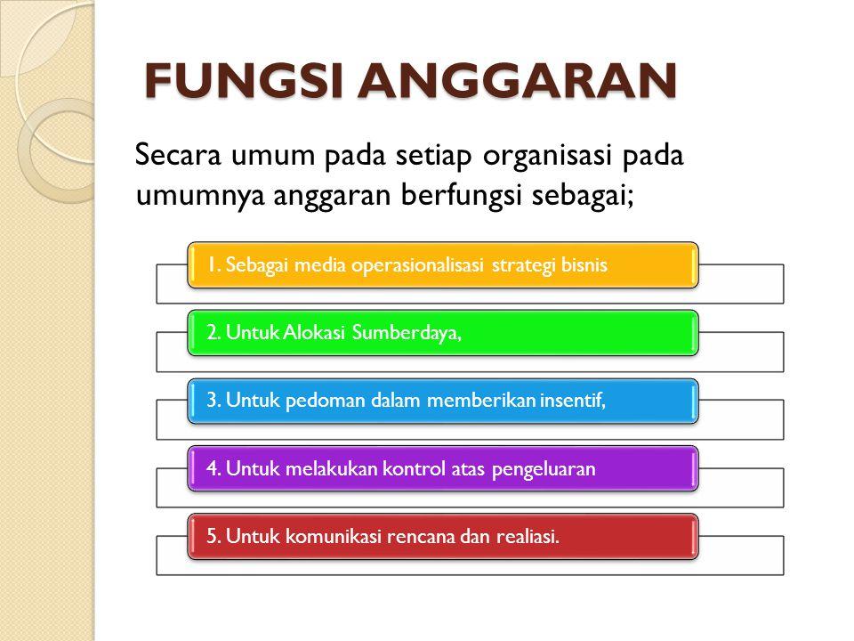 FUNGSI ANGGARAN Secara umum pada setiap organisasi pada umumnya anggaran berfungsi sebagai; 1. Sebagai media operasionalisasi strategi bisnis 2. Untuk