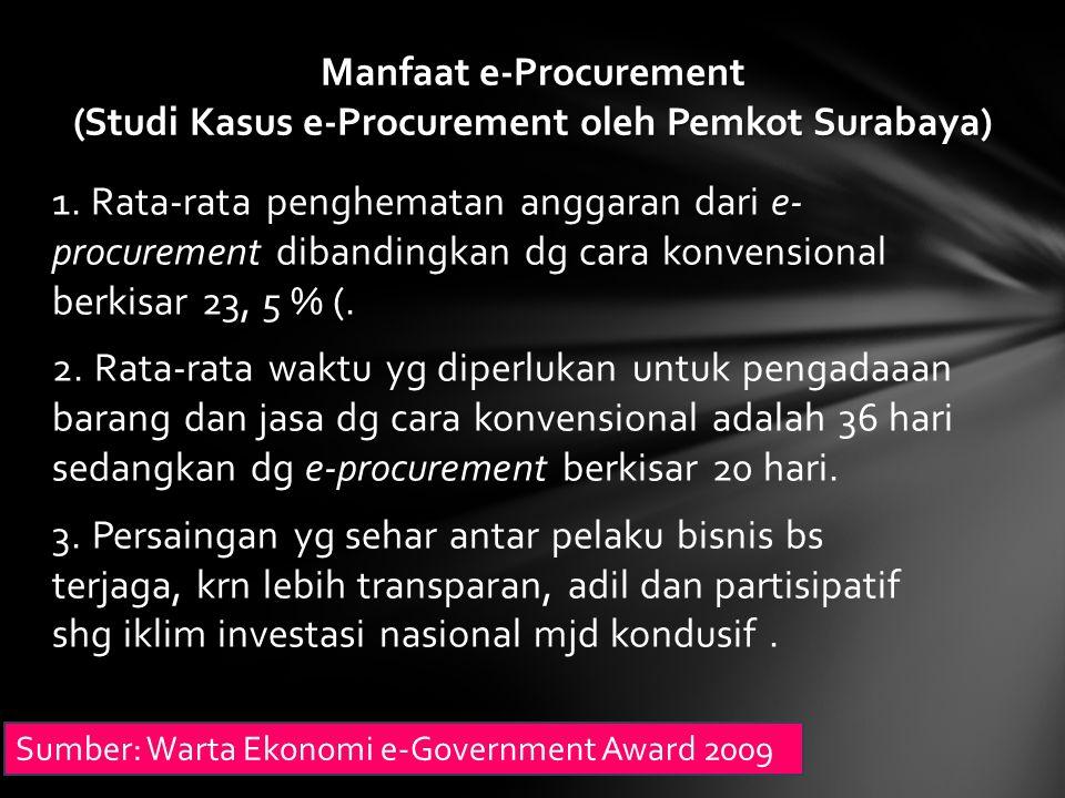 1. Rata-rata penghematan anggaran dari e- procurement dibandingkan dg cara konvensional berkisar 23, 5 % (. 2. Rata-rata waktu yg diperlukan untuk pen