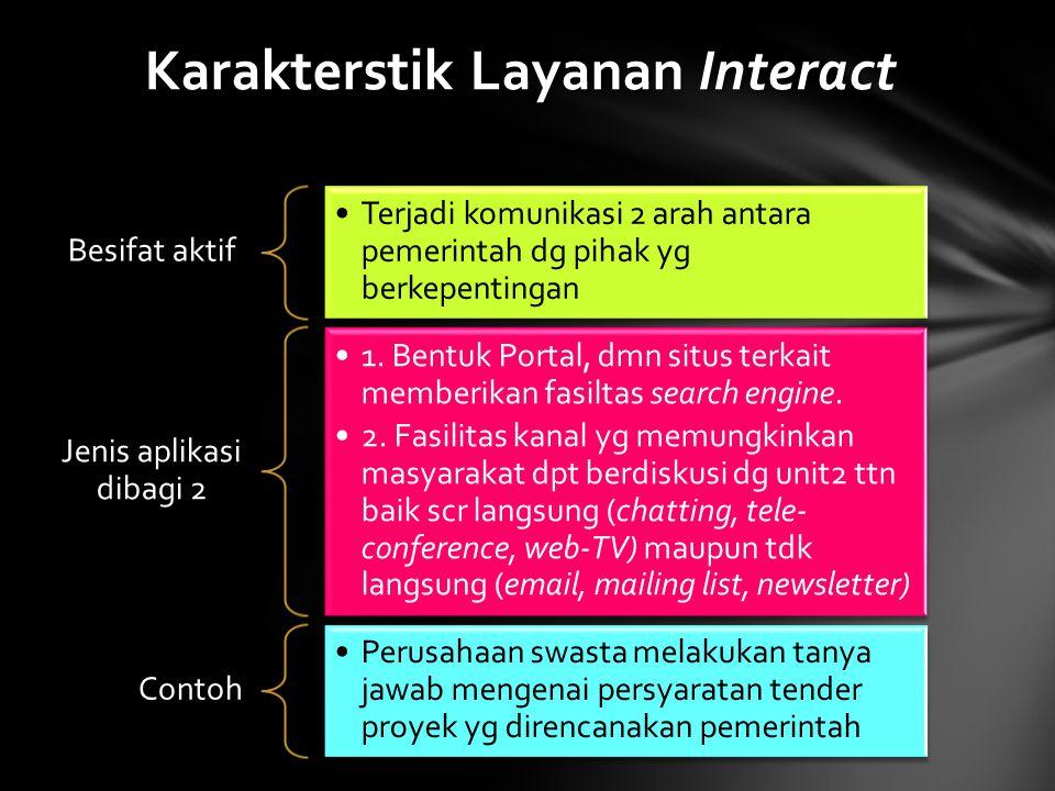 Besifat aktif Terjadi komunikasi 2 arah antara pemerintah dg pihak yg berkepentingan Jenis aplikasi dibagi 2 1. Bentuk Portal, dmn situs terkait membe