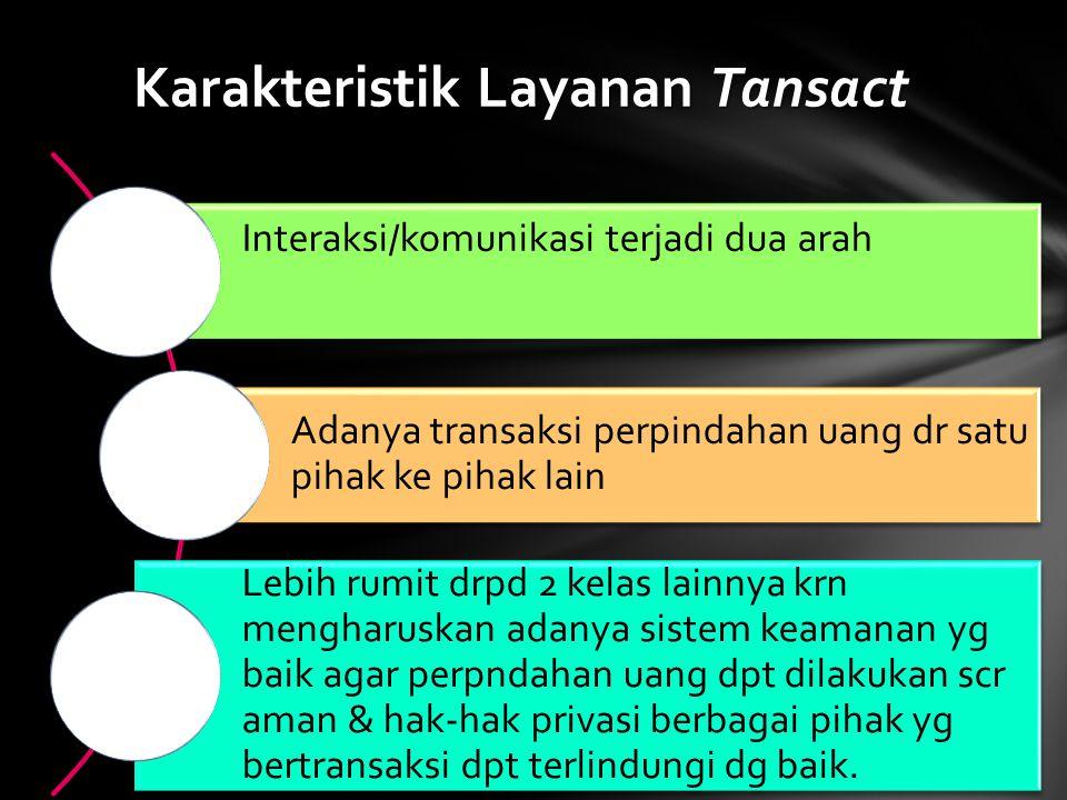 Interaksi/komunikasi terjadi dua arah Adanya transaksi perpindahan uang dr satu pihak ke pihak lain Lebih rumit drpd 2 kelas lainnya krn mengharuskan