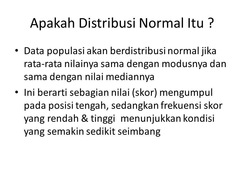 Apakah Distribusi Normal Itu ? Data populasi akan berdistribusi normal jika rata-rata nilainya sama dengan modusnya dan sama dengan nilai mediannya In