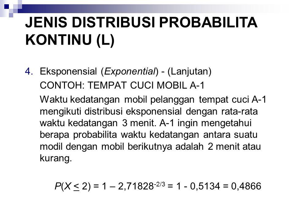 4.Eksponensial (Exponential) - (Lanjutan) CONTOH: TEMPAT CUCI MOBIL A-1 Waktu kedatangan mobil pelanggan tempat cuci A-1 mengikuti distribusi eksponensial dengan rata-rata waktu kedatangan 3 menit.