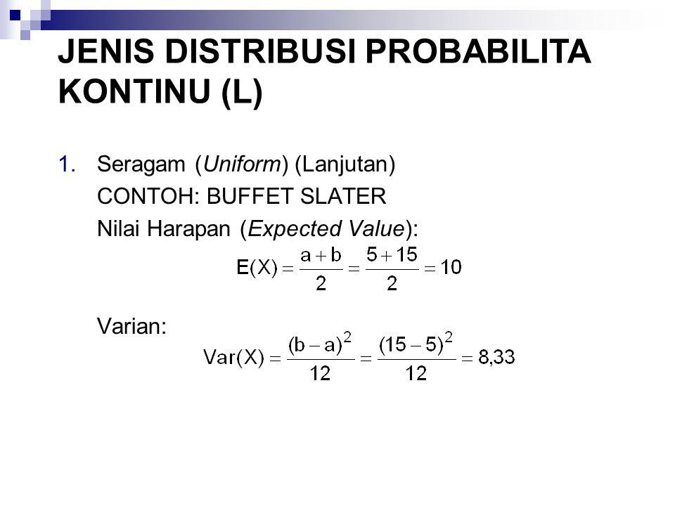 4.Eksponensial (Exponential) - (Lanjutan) CONTOH: TEMPAT CUCI MOBIL A-1 JENIS DISTRIBUSI PROBABILITA KONTINU (L)