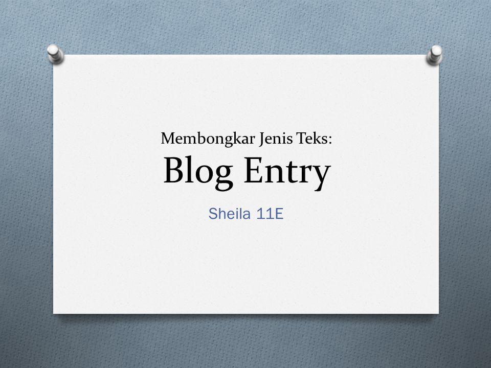 Membongkar Jenis Teks: Blog Entry Sheila 11E