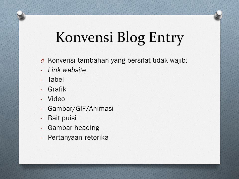Konvensi Blog Entry O Konvensi tambahan yang bersifat tidak wajib: - Link website - Tabel - Grafik - Video - Gambar/GIF/Animasi - Bait puisi - Gambar