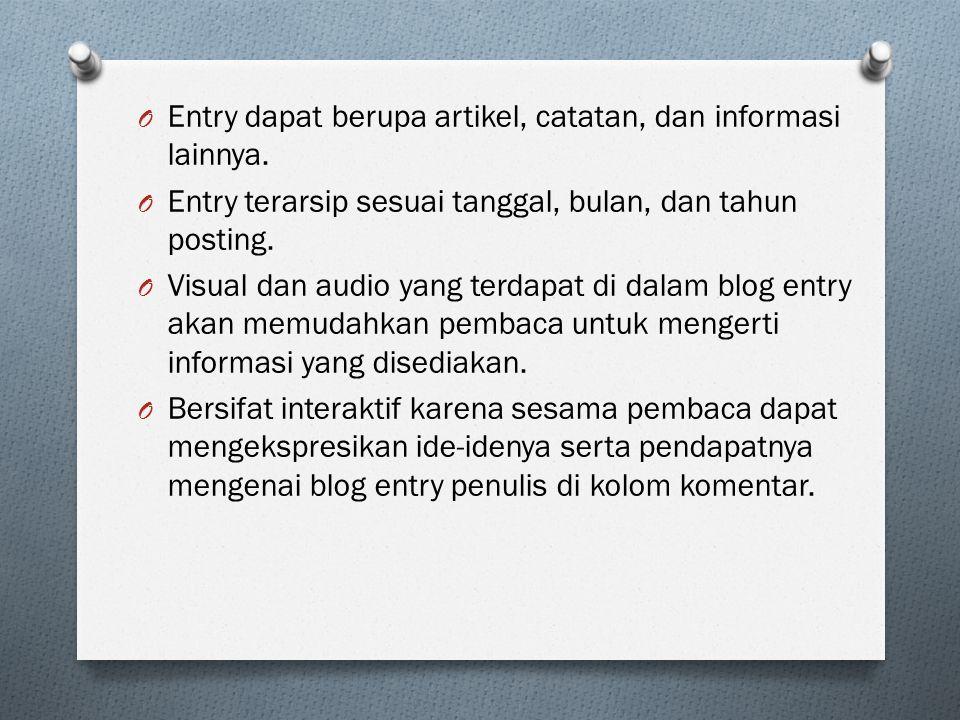 Contoh Blog Entry Pribadi: O Blog pribadi: http://www.benablog.com/2013/12/the-raid-2-dan-film-indonesia-akhir- ini.html Tanggal posting Judul blog entry Gambar heading Pembukaan