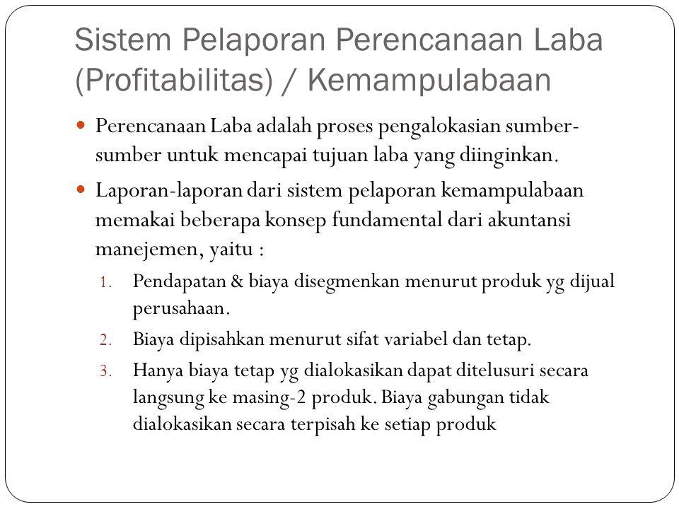 Sistem Pelaporan Perencanaan Laba (Profitabilitas) / Kemampulabaan Perencanaan Laba adalah proses pengalokasian sumber- sumber untuk mencapai tujuan l