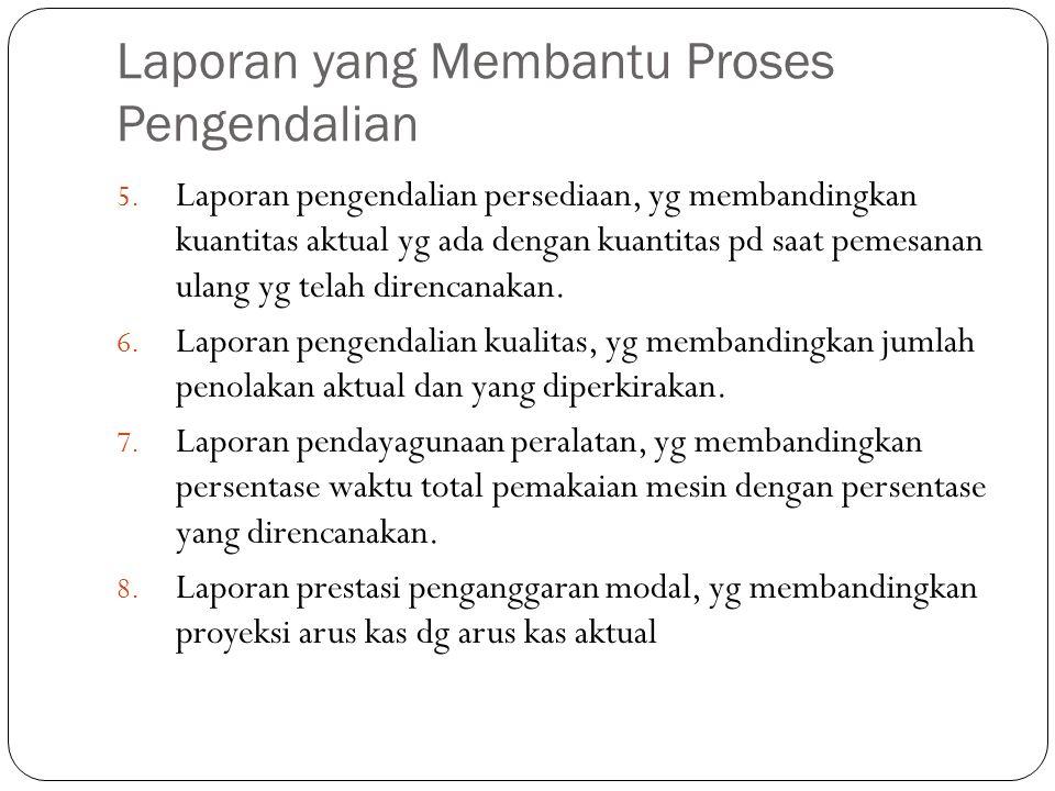Laporan yang Membantu Proses Pengendalian 5. Laporan pengendalian persediaan, yg membandingkan kuantitas aktual yg ada dengan kuantitas pd saat pemesa