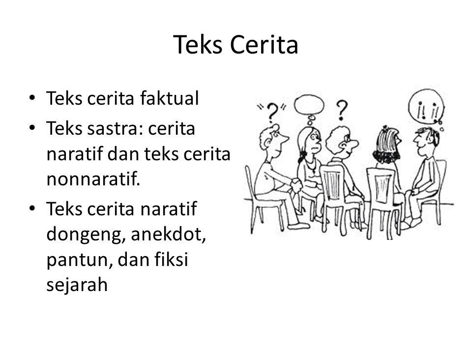 Teks Cerita Teks cerita faktual Teks sastra: cerita naratif dan teks cerita nonnaratif.