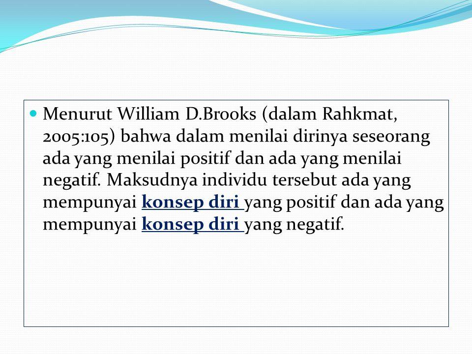 Menurut William D.Brooks (dalam Rahkmat, 2005:105) bahwa dalam menilai dirinya seseorang ada yang menilai positif dan ada yang menilai negatif. Maksud