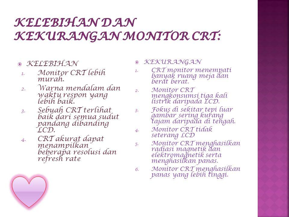  KELEBIHAN 1. Monitor CRT lebih murah. 2. Warna mendalam dan waktu respon yang lebih baik.