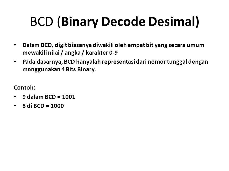 BCD (Binary Decode Desimal) Dalam BCD, digit biasanya diwakili oleh empat bit yang secara umum mewakili nilai / angka / karakter 0-9 Pada dasarnya, BC