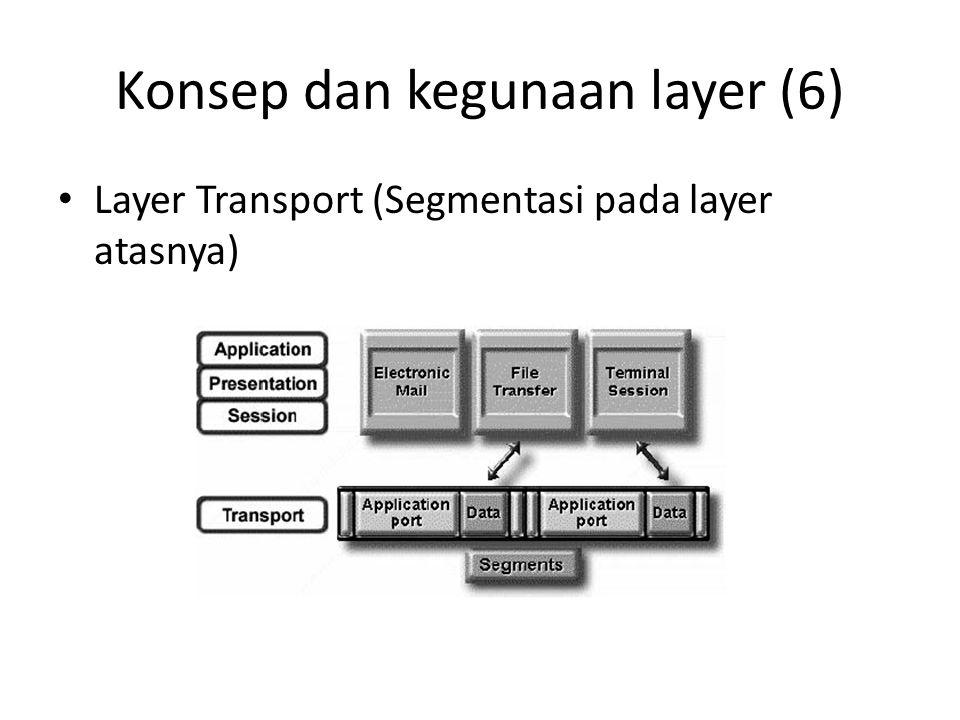 Konsep dan kegunaan layer (6) Layer Transport (Segmentasi pada layer atasnya)