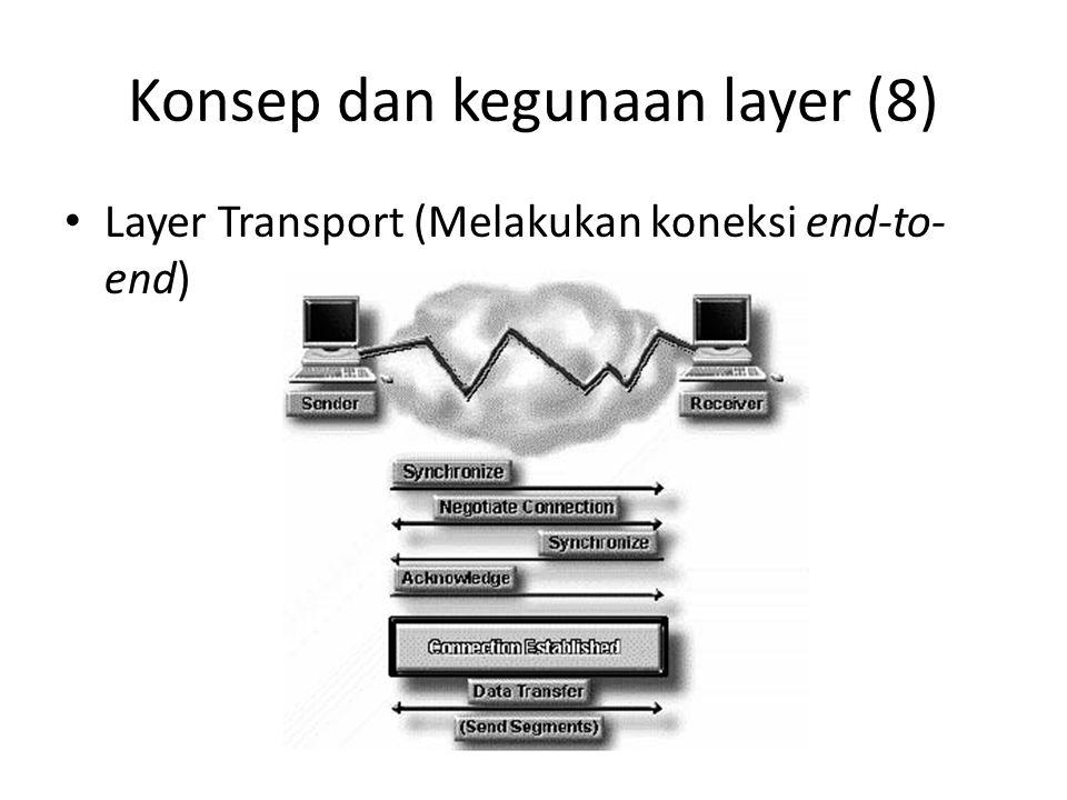 Konsep dan kegunaan layer (8) Layer Transport (Melakukan koneksi end-to- end)