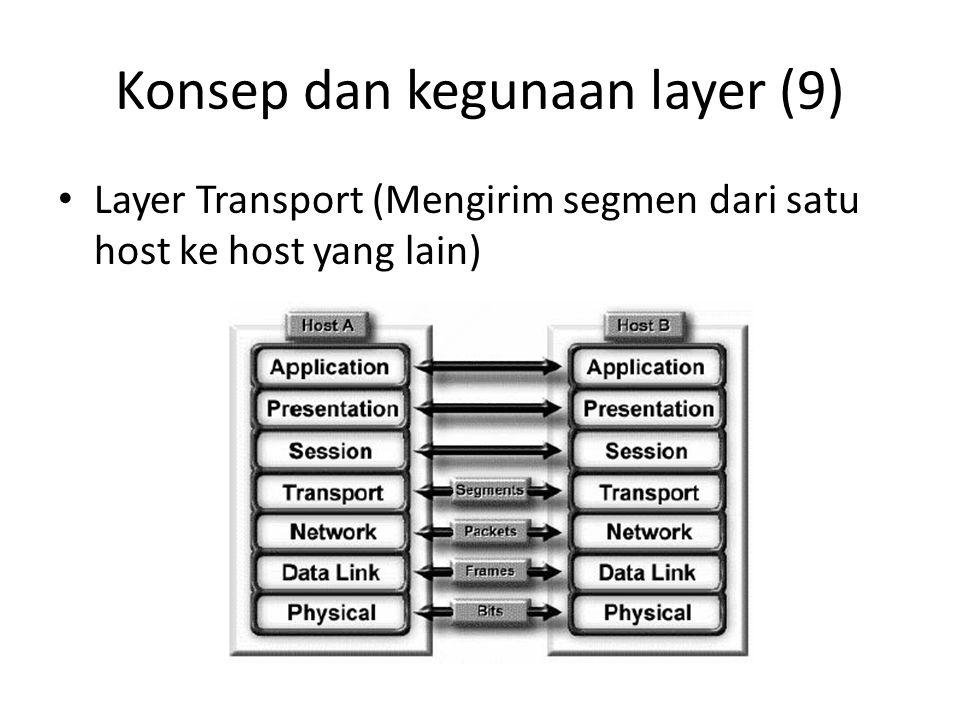 Konsep dan kegunaan layer (9) Layer Transport (Mengirim segmen dari satu host ke host yang lain)