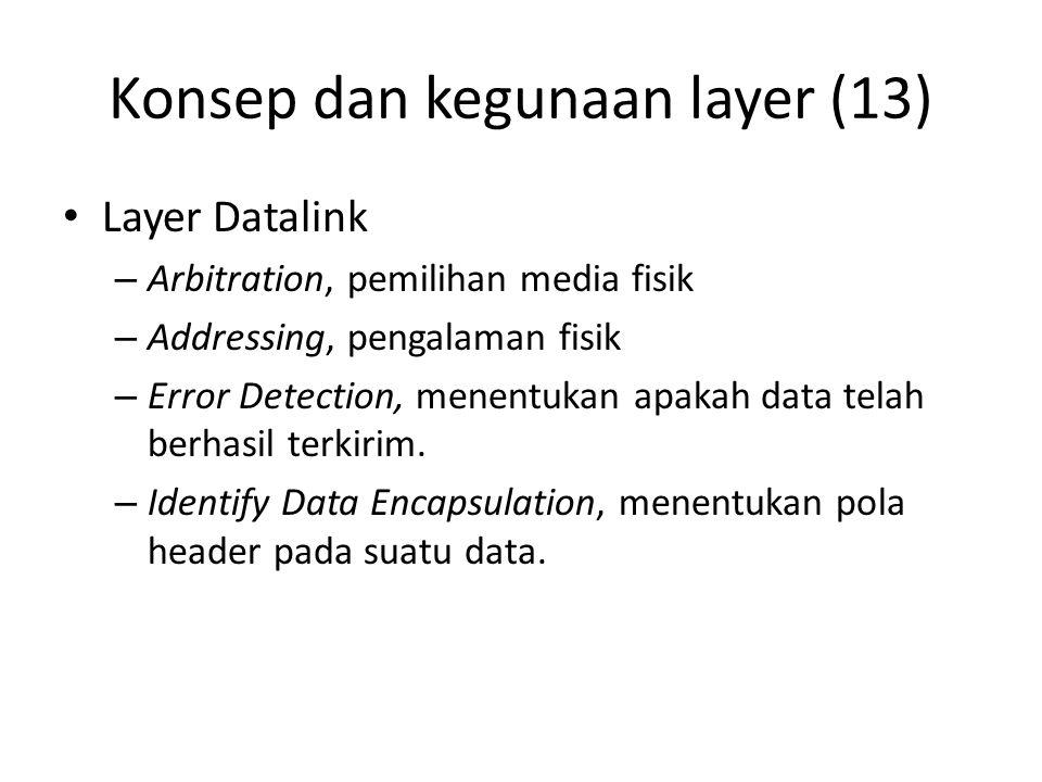 Konsep dan kegunaan layer (13) Layer Datalink – Arbitration, pemilihan media fisik – Addressing, pengalaman fisik – Error Detection, menentukan apakah