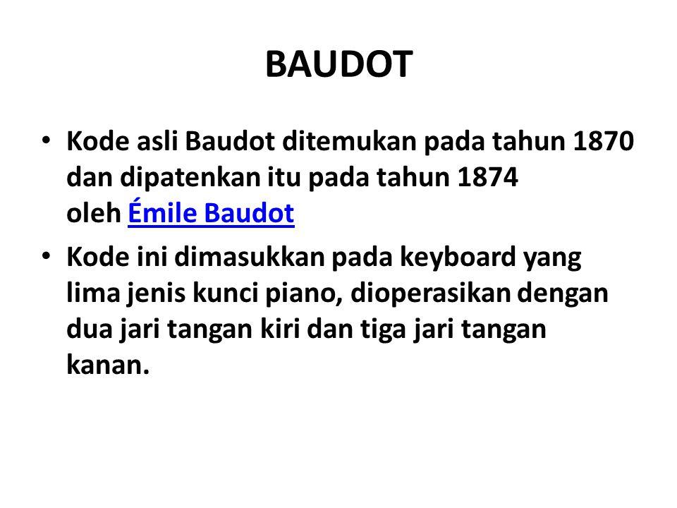 BAUDOT Kode asli Baudot ditemukan pada tahun 1870 dan dipatenkan itu pada tahun 1874 oleh Émile BaudotÉmile Baudot Kode ini dimasukkan pada keyboard y