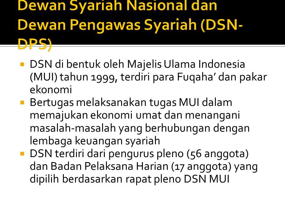 DSN di bentuk oleh Majelis Ulama Indonesia (MUI) tahun 1999, terdiri para Fuqaha' dan pakar ekonomi  Bertugas melaksanakan tugas MUI dalam memajuka