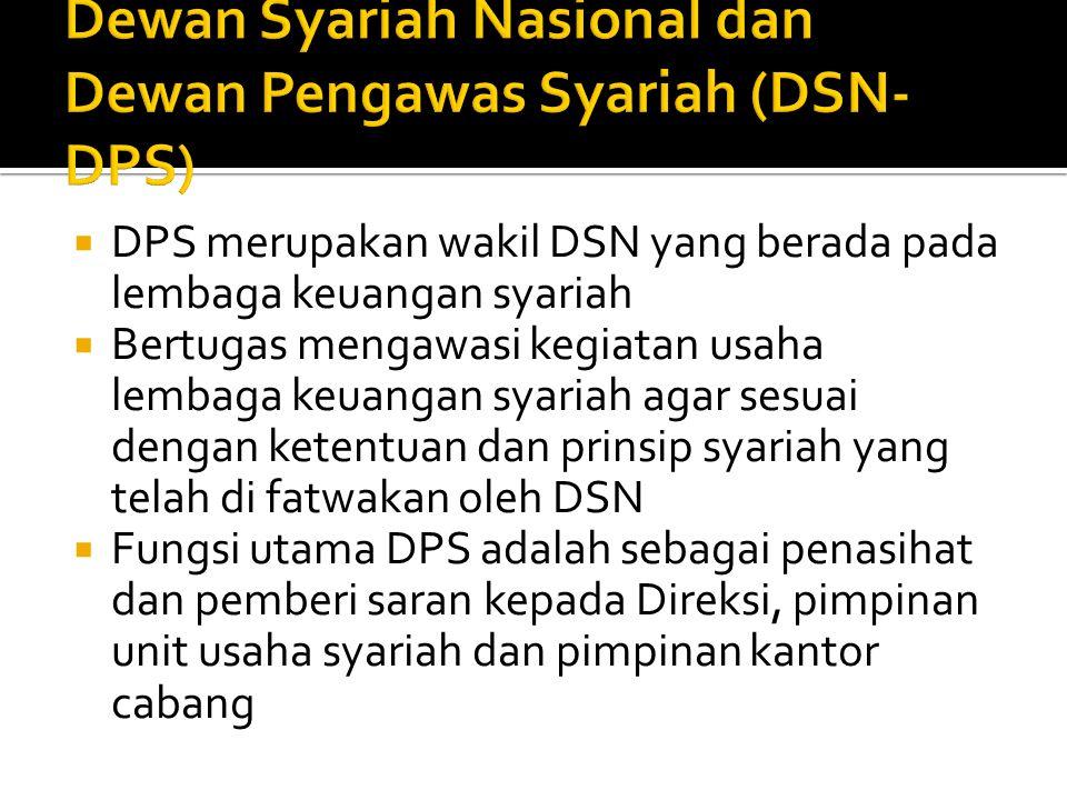  DPS merupakan wakil DSN yang berada pada lembaga keuangan syariah  Bertugas mengawasi kegiatan usaha lembaga keuangan syariah agar sesuai dengan ke
