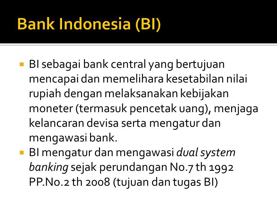  BI sebagai bank central yang bertujuan mencapai dan memelihara kesetabilan nilai rupiah dengan melaksanakan kebijakan moneter (termasuk pencetak uang), menjaga kelancaran devisa serta mengatur dan mengawasi bank.