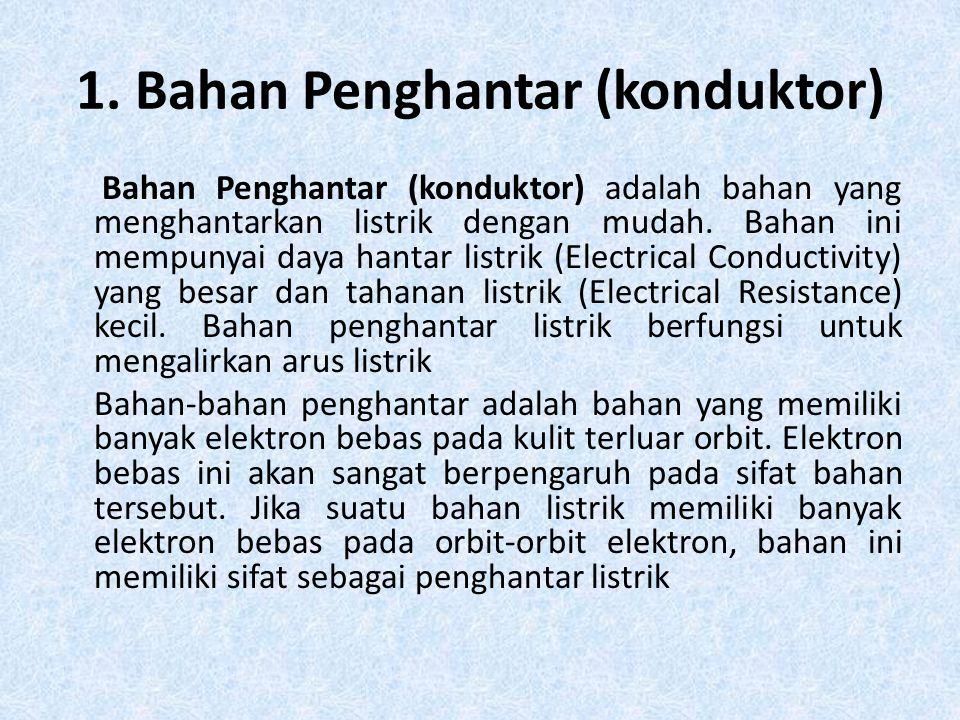 1. Bahan Penghantar (konduktor) Bahan Penghantar (konduktor) adalah bahan yang menghantarkan listrik dengan mudah. Bahan ini mempunyai daya hantar lis