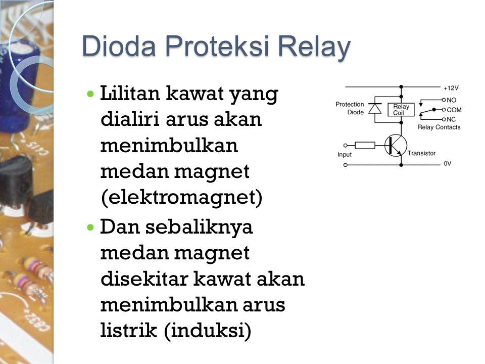 Dioda Proteksi Relay Lilitan kawat yang dialiri arus akan menimbulkan medan magnet (elektromagnet) Dan sebaliknya medan magnet disekitar kawat akan me