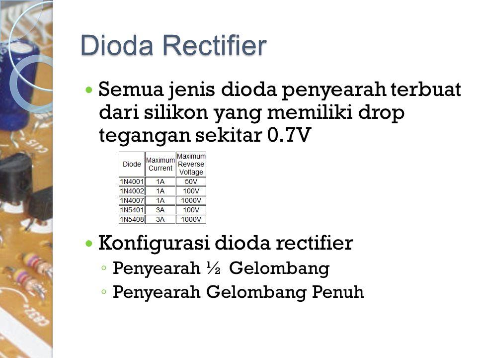 Dioda Rectifier Semua jenis dioda penyearah terbuat dari silikon yang memiliki drop tegangan sekitar 0.7V Konfigurasi dioda rectifier ◦ Penyearah ½ Ge