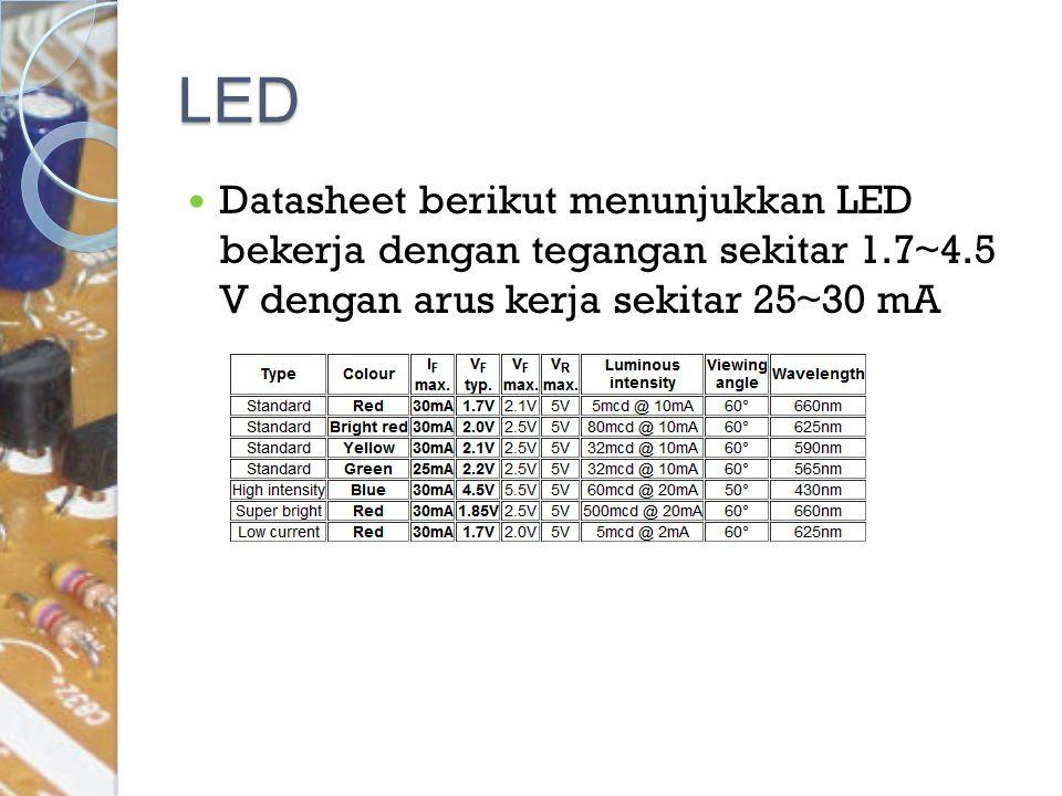 LED Datasheet berikut menunjukkan LED bekerja dengan tegangan sekitar 1.7~4.5 V dengan arus kerja sekitar 25~30 mA